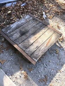 Vintage Industrial Factory Cart Pallet 36x36 Cast Iron Heavy Duty Distressed