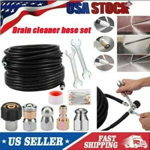Pressure Washer Jetter Sewer Hose Kit 5800 Psi 100 Ft Drain Cleaning Hose