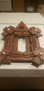 Rare Antique Victorian Tramp Art Wall Picture Frame Mother Of Pearl Vintage