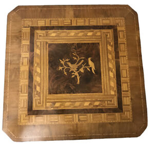 Antique 19th Century Italian Inlaid Walnut Tilt Top Game Puzzle Side Table