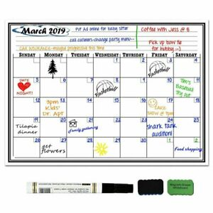 17x11 Magnetic Refrigerator Calendar Monthly Planner Whiteboard Marker Dry Erase