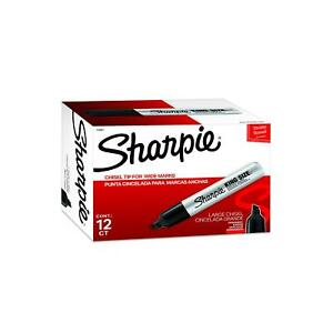 Sharpie King Size Permanent Markers Chisel Tip Black 12 Pack