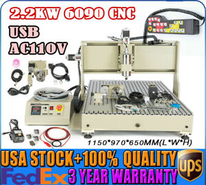 Usb 4 Axis Router Machine Cnc 6090 Engraving 2200w Drill Mill Remote Controller