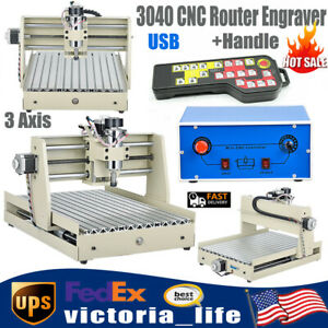 Usb 3 Axis 3040 Cnc Router Engraver 3d Wood Engraving Machine 400w handle