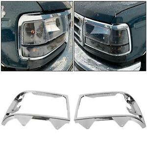 Chrome Headlights Headlamp Trim Bezel Set For Ford Bronco Ford F150 F250 F350