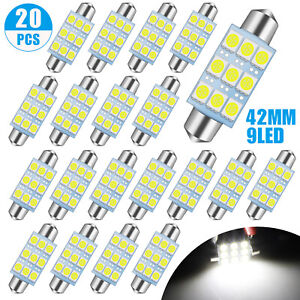 20x Super White 41 42mm Led Car Interior Dome Map Door License Plate Light Bulbs
