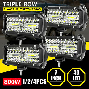 1 2 4pcs 7inch 800w Led Work Light Bar Flood Spot Fog Lamp Offroad Driving Truck