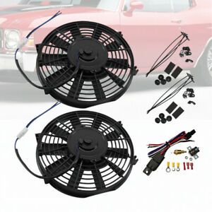 2 Pack 10 Push Pull Electric Straight Blade Radiator Cooling Fan W Relay Kit