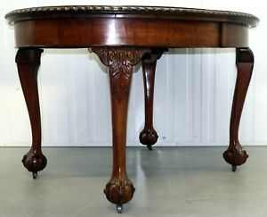 Mahogany Extending Dining Table One Leaf Cabriole Legs With Claw Ball Feet