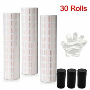 30 Rolls White Red Line Price Tags Labels For Mx 5500 Gun Labeller Sticker Ink