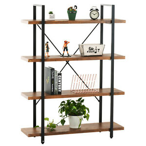 4 Tiers Industrial Metal Bookcase Shelf Display Wood Storage Rack Home office