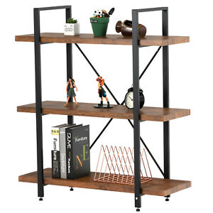 3 Tiers Industrial Bookcase Metal Wood Shelf Display Storage Rack Home Office