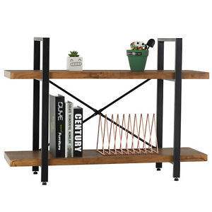 2 Tiers Industrial Metal Bookcase Wood Shelf Display Storage Rack Home Office