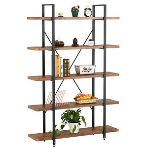 5 Tiers Bookcase Industrial Metal Wood Shelf Display Storage Rack Home office
