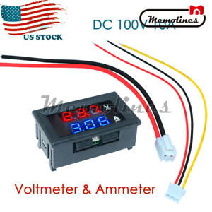 Dc 100v 10a Digital Mini Voltmeter Ammeter Blue Red Led Volt Amp Meter Gauge