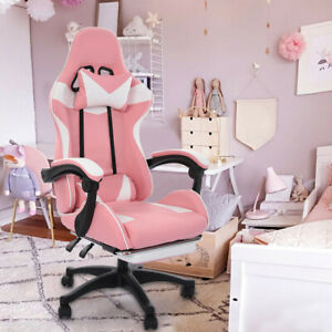 Gaming Chair Racing Computer Leather Ergonomic Recliner Office Desk Seat Pink