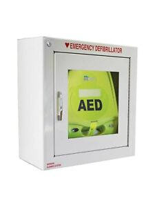 Used Metal Wall Cabinet With Alarm For Zoll Aed Plus dents On The Corner