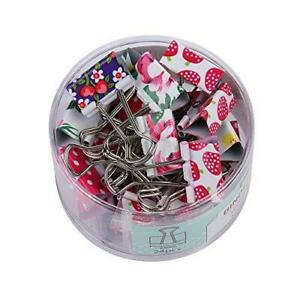 Lovely Cute Printing Style Metal Binder Clips paper Clips Clamps 1 Box 24 Sets