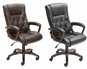 Office Desk Leather Chair Executive Rolling Adjustable Home Office Black Brown