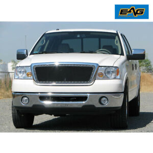 Eag Rivet Front Mesh Grille Black With Chrome Shell Fit For 2004 2008 Ford F 150