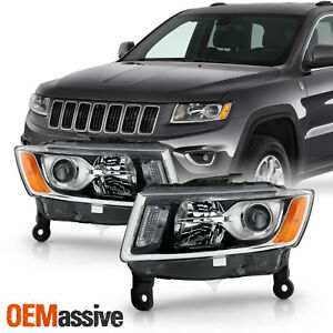 For 2014 2016 Jeep Grand Cherokee Halogen Type Projector Chrome Headlights Pair