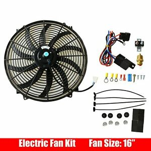 16 Electric Radiatior Cooling Fan With Thermostat Wiring Switch Relay Kit