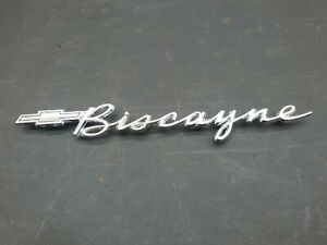 1962 62 Chevrolet Biscayne Used Gm Chrome Quarter Panel Script Emblem 4851161