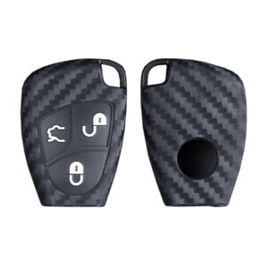 Carbon Silicone Car Remote Key Case Fob Cover Fit For Mercedes Benz C E G S R Cl