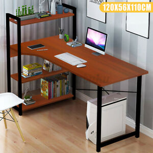 Computer Desk Pc Laptop Table Bookshelf Study Workstation Home Office W shelf