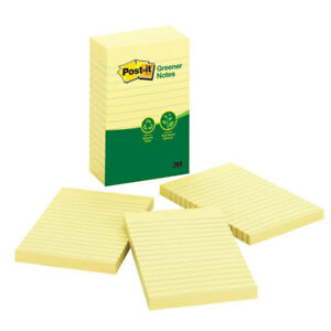 Post it Greener Notes 100 Recycled 4 X 6 Lined Canary Yellow 5 pack