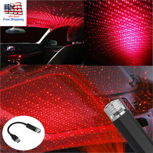 Usb Car Interior Led Atmosphere Star Sky Lamp Ambient Night Light Projector Red