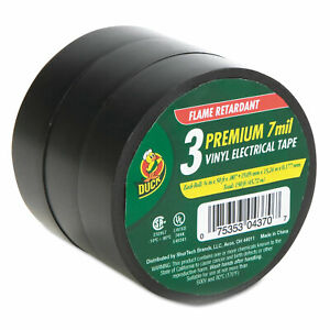 Duck Pro Electrical Tape 3 4 X 50 Ft 1 Core Black 3 pack 299004