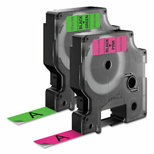 Dymo D1 High performance Polyester Perm Label Tape 1 2 X 10 Ft Black On Neon 2