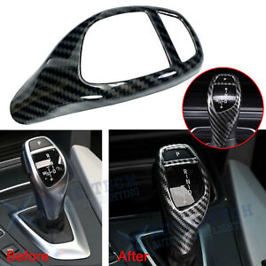 For Bmw F30 F20 F10 F15 F25 X5 X3 Carbon Fiber Style Gear Shift Knob Cover Trim