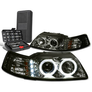 For 1999 2004 Ford Mustang Led Dual Halo Projector Headlight tool Box Smoked