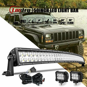 For Jeep Cherokee Xj Front Upper Roof 50 Curved Led Light Bar Combo 4 Pods Kit