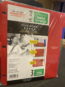 Mead Five Star Write On Wipe Off Surface 3 Tabs 2 Pocket Binder Dividers New