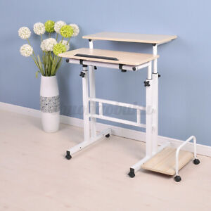 Stand Up Lift Height Adjustable Mobile Computer Desk Laptop Pc Table With Shelf