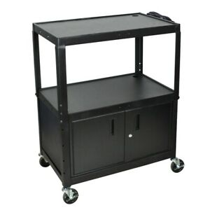 Extra Wide Steel Adjustable Height A v Cart W Cabinet