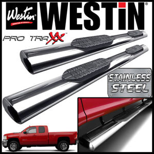 Westin Pro Traxx 6 Stainless Oval Nerf Step Bars 2007 13 Silverado Extended Cab
