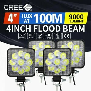 4x 4 Inch 27w Led Work Light Bar Pods Flood Spot Combo Driving Lamp Suv