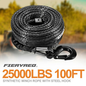 3 8 100feet Synthetic Winch Rope 25000lbs Winch Line Cable Rope W Steel Hook