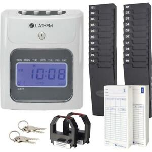Lathem 400e Top Feed Electronic Time Clock Kit Card Punch stamp Month