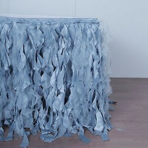 17 Ft Dusty Blue Curly Taffeta Table Skirt Wedding Catering Trade Show Banquet