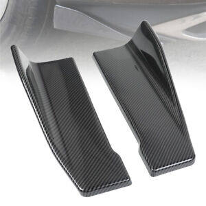2pcs Universal Carbon Fiber Car Rear Bumper Lip Splitter Side Skirt Winglet 14