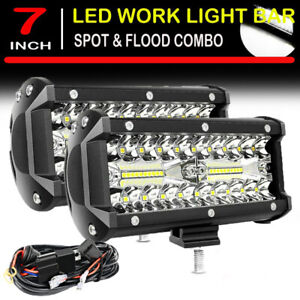 7inch 800w Led Work Light Bar Flood Spot Offroad 4wd Driving Suv Fog Lamp Wire
