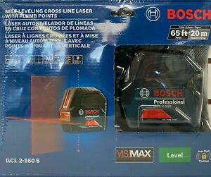 New Bosch Self Leveling Cross Line Laser With Plumb Points Gcl2 160s