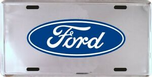 Ford Embossed Silver Metal License Plate New Free Shipping Officially Licensed