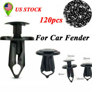 120pcs Car Black Plastic Rivets 8mm Fastener Clip Push Pin For Auto Fender Door