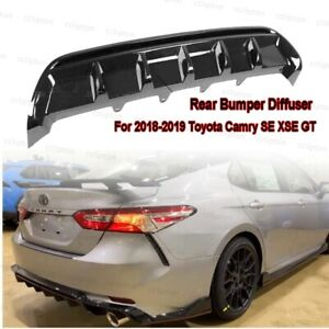 Rear Bumper Diffuser For 2018 2019 Toyota Camry Se Xse Gt Shark Fin Glossy Black